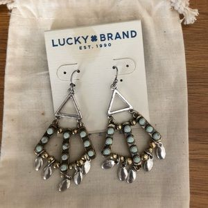 Lucky brand dangle earrings with turquoise stones